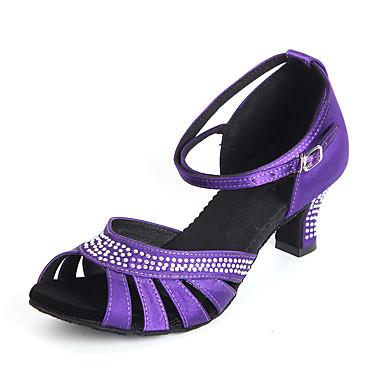c4c5baa9df0 Γυναικεία Παπούτσια χορού λάτιν Σατέν Τακούνια Αγκράφα / Κρύσταλλοι / Στρας  Προσαρμοσμένο τακούνι Εξατομικευμένο Παπούτσια Χορού Βυσσινί / Κόκκινο /  Δερματί ...