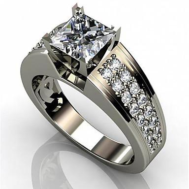 voordelige Herensieraden-Heren Dames Ring Kubieke Zirkonia 1pc Wit Koper Geometrische vorm Stijlvol Verloving Dagelijks Sieraden Klassiek Vreugde Cool