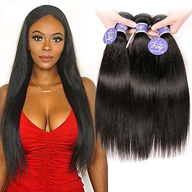 baratos Extensões de Cabelo Natural-4 pacotes Cabelo Brasileiro Liso Não processado Cabelo Natural 100% Remy Hair Weave Bundles Peça para Cabeça Cabelo Humano Ondulado Cabelo Bundle 8-28 polegada Natural Tramas de cabelo humano