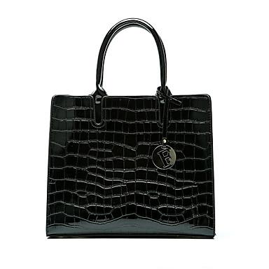 abordables Bolsos-Mujer Botones Bolso de Mano Cuero Patentado / PU Cocodrilo Rojo / Morado / Marrón / Piel de Serpiente / Otoño invierno