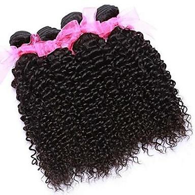 baratos Extensões de Cabelo Natural-6 pacotes Cabelo Brasileiro Kinky Curly 100% Remy Hair Weave Bundles Cabelo Humano Ondulado Cabelo Bundle Um Pacote de Solução 8-28 polegada Côr Natural Tramas de cabelo humano Macio Venda imperdível