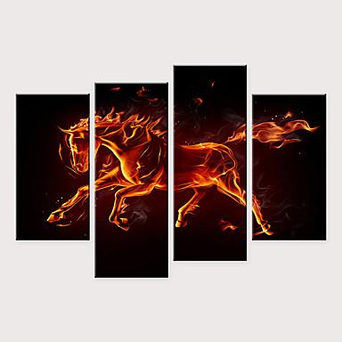 billige Trykk-Trykk Valset lerretskunst - Dyr Pop Kunst Moderne Fire Paneler Kunsttrykk