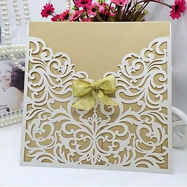 abordables Faire-part mariage-Carte plate Faire-part mariage Cartes d'invitation Style artistique Papier nacre 15*15cm Ruban