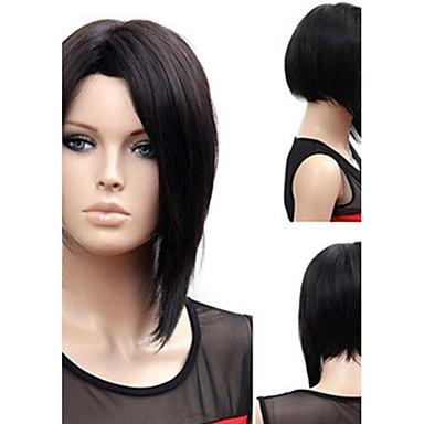 Pelucas sintéticas Liso Natural Estilo Parte media Sin Tapa Peluca Negro Negro Pelo sintético 12 pulgada Mujer Mujer Negro Peluca Larga Peluca natural