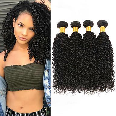 baratos Extensões de Cabelo Natural-4 pacotes Cabelo Malaio Kinky Curly 100% Remy Hair Weave Bundles Cabelo Humano Ondulado Cabelo Bundle Extensões de Cabelo Natural 8-28inch Côr Natural Tramas de cabelo humano Recém nascido Simples