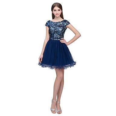 A-Linie Schmuck Kurz / Mini Tüll / Pailletten Kleid mit Paillette durch JUDY&JULIA