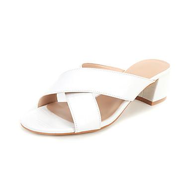 رخيصةأون أحذية النساء-نسائي جلد محفوظ الصيف صنادل كعب متوسط أبيض / أسود / بورجوندي