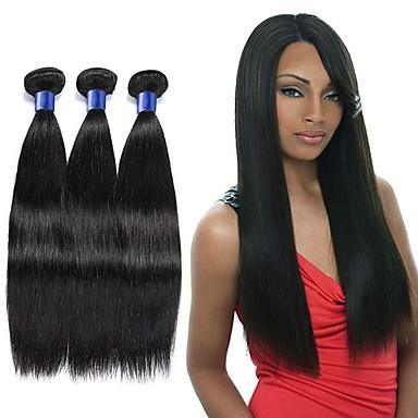 voordelige Weaves van echt haar-3 bundels Indiaas haar Recht Mensen Remy Haar Menselijk haar weeft Verlenging Bundle Hair 8-28 inch Natuurlijke Kleur Menselijk haar weeft Geurvrij Modieus Design Zacht Extensions van echt haar Dames