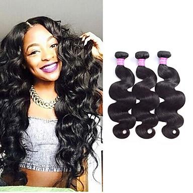 3 pakettia Brasilialainen Runsaat laineet Remy-hius Hiukset kutoo Pidentäjä Bundle Hair 8-28 inch Luonnollinen väri Hiukset kutoo Vastasyntynyt Elämä Turvallisuus Hiukset Extensions Naisten