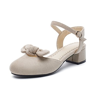 cheap Women's Sandals-Women's Faux Leather Fall / Spring & Summer Casual / Sweet Sandals Walking Shoes Chunky Heel Round Toe Satin Flower Black / Beige / Light Pink / Party & Evening