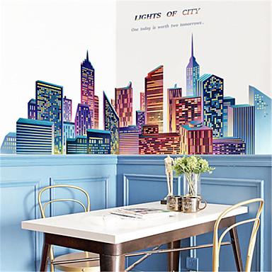 stor kreativ by stue soveværelse selvklæbende tapet sofa baggrund vægdekoration væg klistermærke bygning væg klistermærker