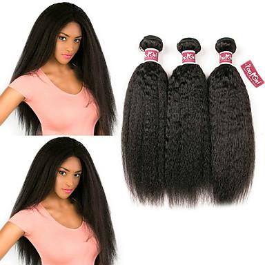 baratos Extensões de Cabelo Natural-3 pacotes Cabelo Brasileiro Kinky Liso Yaki Não processado Cabelo Natural 100% Remy Hair Weave Bundles Peça para Cabeça Cabelo Humano Ondulado Cabelo Bundle 8-28 polegada Côr Natural Tramas de cabelo