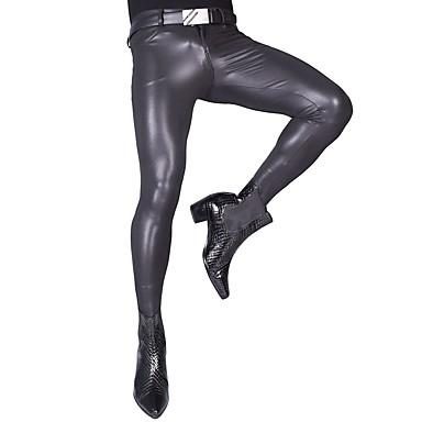 Kiiltävät Zentai asut Pants Ihon puku Moottoripyörän miehet Aikuisten Lateksi Cosplay-asut Cosplay Halloween Miesten Tumman harmaa Yhtenäinen Halloween Masquerade / Erittäin elastinen