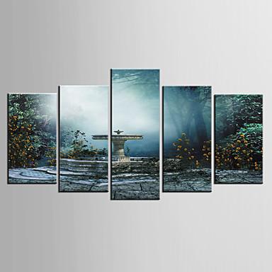 abordables Toiles-Imprimé Impressions sur toile roulées Impression sur Toile - Saisons Botanique Contemporain Moderne Cinq Panneaux Art Prints