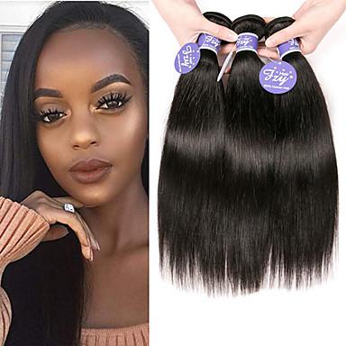 baratos Extensões de Cabelo Natural-3 pacotes Cabelo Brasileiro Liso Não processado Cabelo Natural 100% Remy Hair Weave Bundles Peça para Cabeça Cabelo Humano Ondulado Cabelo Bundle 8-28 polegada Natural Tramas de cabelo humano Sem