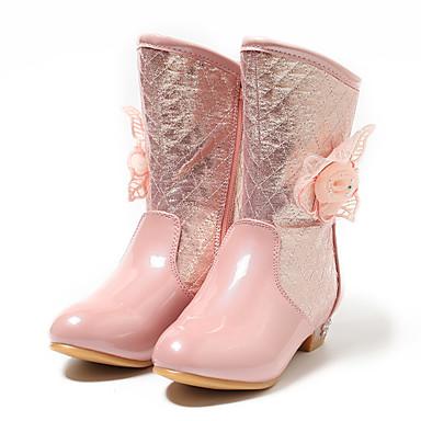 baratos Sapatos de Criança-Para Meninas Couro Ecológico Botas Criança (9m-4ys) / Little Kids (4-7 anos) / Big Kids (7 anos +) Botas da Moda / Sapatos para Daminhas de Honra Flor Prata / Rosa Claro Inverno / Outono & inverno