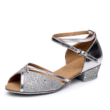 baratos Shall We® Sapatos de Dança-Mulheres Paetês Sapatos de Dança Latina Salto Salto Baixo Personalizável Prata / Fúcsia / Azul / Couro / Ensaio / Prática / EU40