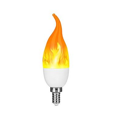 abordables Ampoules électriques-1pc 2 W Ampoules Bougies LED 100-200 lm E12 C35L 38 Perles LED SMD 2835 Dégradé de Couleur Flamme vacillante Feu d'artifice en 3D Jaune 220-240 V 110-130 V
