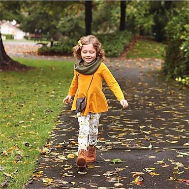 levne Sady oblečení-Toddler Dívčí Cikánský Květinový Tisk 3/4 délka rukávu Dlouhé Bavlna Sady oblečení Žlutá