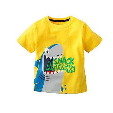 baratos Camisas para Meninos-Infantil Para Meninos Activo Básico Dinossauro Estampado Manga Curta Algodão Camiseta Cinzento Escuro