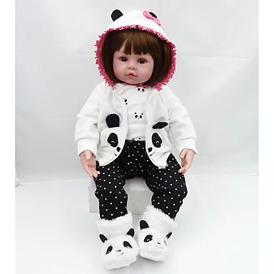 preiswerte Lebensechte Puppe-NPKCOLLECTION Lebensechte Puppe Baby Mädchen 20 Zoll Geschenk Niedlich Künstliche Implantation Braune Augen Kinder Mädchen Spielzeuge Geschenk