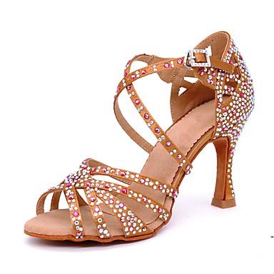 baratos Sapatos de Salsa-Mulheres Sapatos de Dança Cetim Sapatos de Dança Latina Pedrarias / Presilha Sandália / Salto Salto Carretel Personalizável Marron / Espetáculo