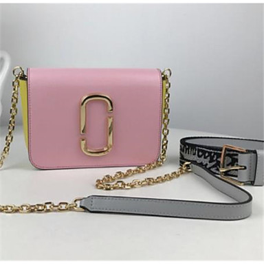 billige Vesker-kvinners vesker nappa lær crossbody bag farge blokk rosa / hvit / rød