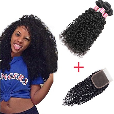 abordables Tissage Naturel-3 paquets avec fermeture Cheveux Brésiliens Kinky Curly Cheveux Vierges Naturel Paquets de 100% Remy Hair Weave Tissages de cheveux humains Bundle cheveux One Pack Solution 8-20 pouce Couleur