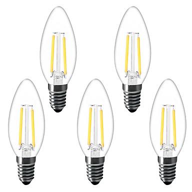 abordables Ampoules électriques-5pcs 1.5 W Ampoules Bougies LED Ampoules à Filament LED 200 lm E14 C35 2 Perles LED LED Haute Puissance Décorative Blanc Chaud 220-240 V 220 V 230 V