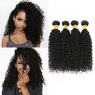 baratos Extensões de Cabelo Natural-4 pacotes Cabelo Peruviano Kinky Curly 100% Remy Hair Weave Bundles Cabelo Humano Ondulado Cabelo Bundle Extensões de Cabelo Natural 8-28inch Côr Natural Tramas de cabelo humano Recém nascido Simples