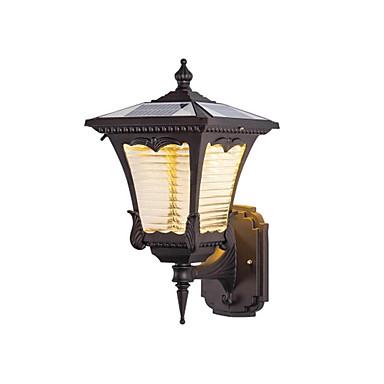 billiga Utomhusbelysning-QINGMING® 1st 3 W Solar Wall Light Vattentät / Sol / Ljusstyrning Varm Vit + Vit 3.7 V Utomhusbelysning / Gård / Trädgård 1 LED-pärlor