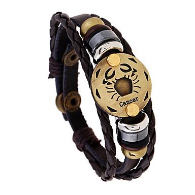 voordelige Herensieraden-Heren Vintage Armbanden Gevlochten Kanker Punk Leder Armband sieraden Koffie Voor Lahja Dagelijks