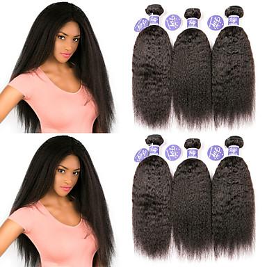 baratos Extensões de Cabelo Natural-6 pacotes Cabelo Malaio Yaki Liso Não processado Cabelo Natural 100% Remy Hair Weave Bundles Peça para Cabeça Cabelo Humano Ondulado Cabelo Bundle 8-28 polegada Côr Natural Tramas de cabelo humano