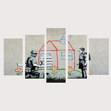 abordables Toiles-Imprimé Impressions sur toile roulées Impression sur Toile - Personnage Moderne Rétro Vintage Moderne Cinq Panneaux Art Prints