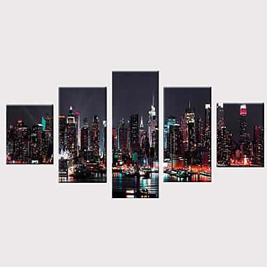 abordables Toiles-Imprimé Impressions sur toile roulées Impression sur Toile - Paysage Moderne Rétro Vintage Moderne Cinq Panneaux Art Prints