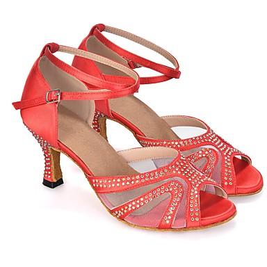 baratos Sapatos de Salsa-Mulheres Sapatos de Dança Sintéticos Sapatos de Dança Latina Gliter com Brilho / Cristal / Strass / Recortes Salto Salto Carretel Personalizável Roxo Escuro / Vermelho / Azul / Espetáculo / Couro