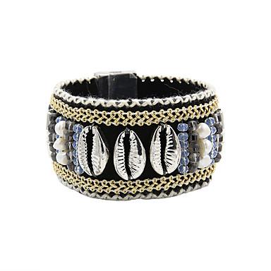 abordables Bracelet-Bracelets en cuir Bracelet Femme Perles Perle Coquillage simple Basique Naturel Branché Bohème Bracelet Bijoux Noir Gris pour Cadeau Quotidien Ecole Plein Air Vacances