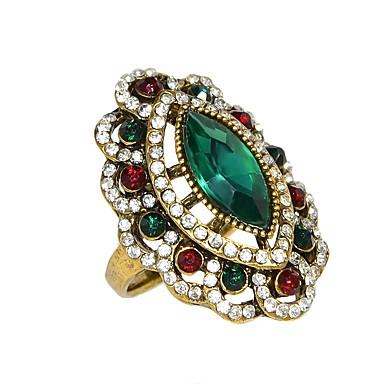 billige Motering-Dame Ring 1pc Rød Grønn Strass Legering Stilfull Luksus Daglig Smykker Byzantine Blomst Smuk