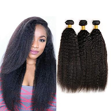 baratos Extensões de Cabelo Natural-3 pacotes Cabelo Indiano Yaki Liso Não processado Cabelo Natural 100% Remy Hair Weave Bundles Peça para Cabeça Cabelo Humano Ondulado Cabelo Bundle 8-28 polegada Natural Tramas de cabelo humano Sem