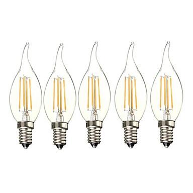 abordables Ampoules électriques-5pcs 4 W Ampoules Bougies LED 400 lm E14 4 Perles LED Adorable Filament mou Blanc Chaud 220-240 V