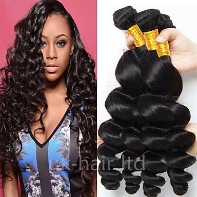 4 pakettia Brasilialainen Löysät aaltoilevat Aidot hiukset 100% Remy Hair Weave -paketit Hiukset kutoo Pidentäjä Bundle Hair 8-28 inch Luonnollinen väri Hiukset kutoo Cosplay Paras laatu kuuma Myynti