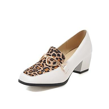 d1242a19fd22b Women's PU(Polyurethane) Spring & Summer Classic / Vintage Heels Chunky  Heel Square Toe Animal Print White / Black / Party & Evening / Leopard