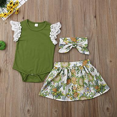 cheap Baby & Kids-Baby Girls' Boho Floral Short Sleeve Regular Cotton / Polyester Clothing Set Green