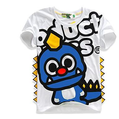 baratos Camisas para Meninos-Infantil Para Meninos Activo Básico Estampado Patchwork Estampado Manga Curta Algodão Blusa Azul