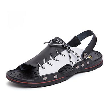 baratos Super Ofertas-Homens Sapatos Confortáveis Microfibra Primavera Verão Vintage Sandálias Respirável Preto / Branco / Preto / Branco / azul