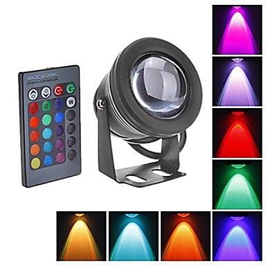 billige Utendørsbelysning-1pc 10w undervannsbelysning vanntett fjernstyrt infrarød sensor rgb 12v utendørs belysning gårdsplass hage 1led perler