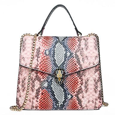 povoljno Zmijska koža-Žene Gumbi / Lanac Tote torbica PU Geometrijski uzorak Djetelina / Crn / Blushing Pink / Zmijska koža / Jesen zima