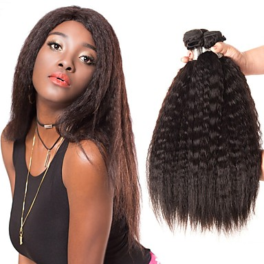 4 Bundles Brazilian Hair kinky Straight Unprocessed Human Hair Natural Color Hair Weaves / Hair Bulk Bundle Hair Human Hair Extensions 8-28inch Natural Color Human Hair Weaves Odor Free Dancing Best