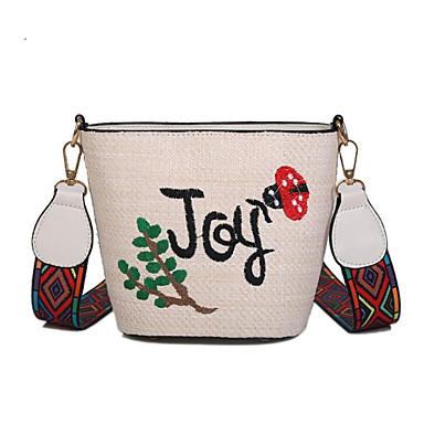 זול שקיות-בגדי ריקוד נשים קש תיק מוצלב על הגוף תיק קש פרחוני בז' / חאקי / סתיו חורף