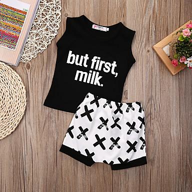 ieftine Haine Bebeluși Băieți-Bebelus Băieți De Bază Imprimeu Imprimeu Fără manșon Regular Bumbac Set Îmbrăcăminte Negru